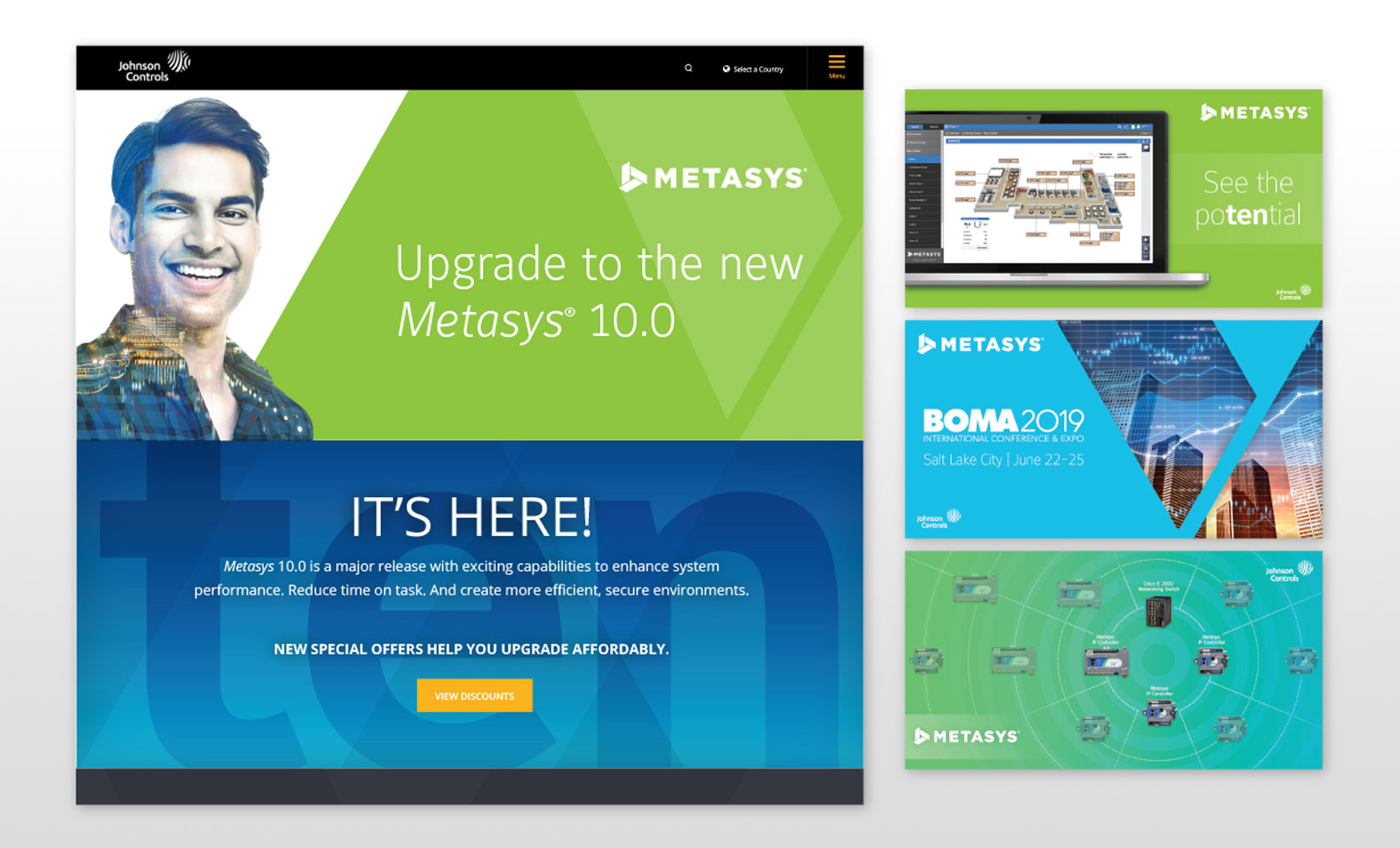 Johnson Controls Metasys website and social media ads